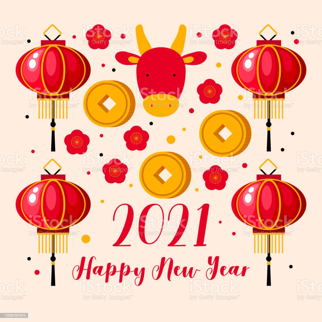 Happy New Year 2021 Cow And Cherry Blossom Lantern Money ...