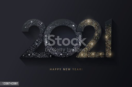 Happy New Year 2021 design. Modern 2021 glittering black and gold numbers isolated on black background. Holiday decoration, seasonal flyers, greetings and invitations, christmas themed and cards.