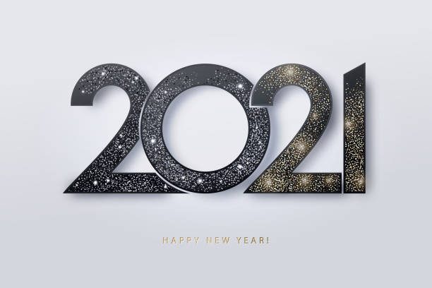 Happy New Year 2021 design. Modern 2021 glittering black and gold numbers isolated on white background. Happy New Year 2021 design. Modern 2021 glittering black and gold numbers isolated on white background. Holiday decoration, seasonal flyers, greetings and invitations, christmas themed and cards. happy new year 2021 stock illustrations
