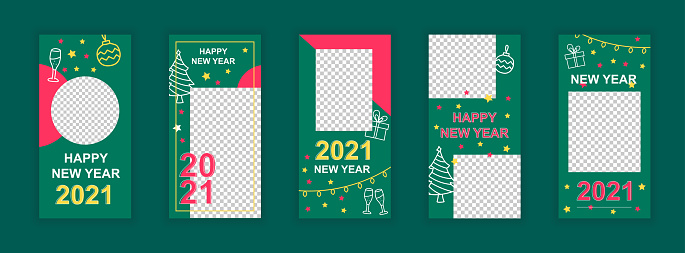 Happy new year 2021 editable templates set for Instagram stories. Winter holidays celebration, festive party. Design for social networks. Insta story mockup