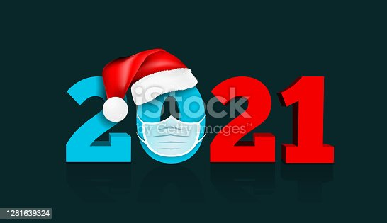 istock Happy New Year 2021. Figures under the hat of Santa Claus and medial face mask. Vector illustration 1281639324
