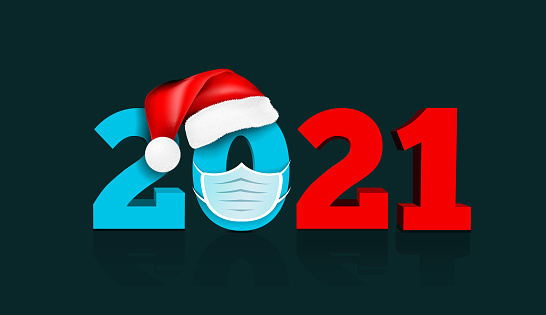 Happy New Year 2021. Figures under the hat of Santa Claus and medial face mask. Vector illustration