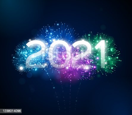 Happy New Year 2021 fireworks background concept.