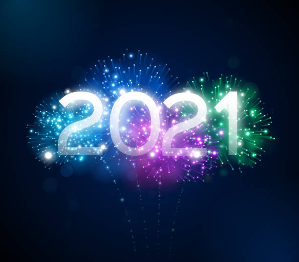 Happy New Year 2021 Fireworks Display Happy New Year 2021 fireworks background concept. happy new year 2021 stock illustrations