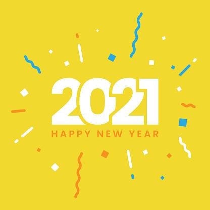 Happy New Year 2021 Flat Design.
