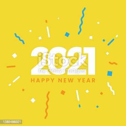 istock Happy New Year 2021 Flat Design. 1285486321