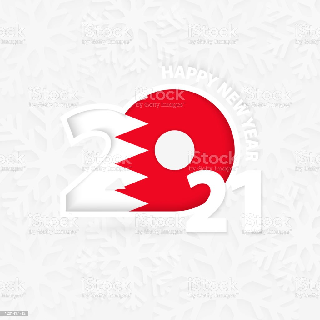 Happy New Year 2021 For Bahrain On Snowflake Background Stock Illustration Download Image Now Istock