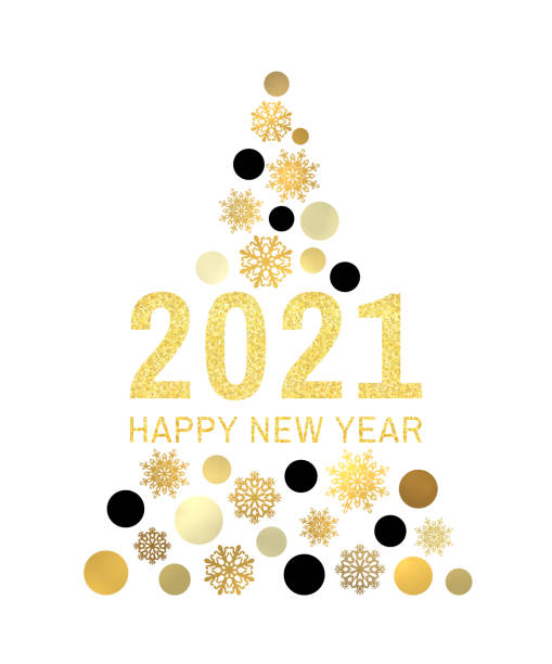Happy New Year 2021 gold glittering greeting card on white background. Vintage abstract banner with tree circles snowflakes. Christmas holiday celebration decoration design. Golden vector illustration Happy New Year 2021 gold glittering greeting card on white background. Vintage abstract banner with tree circles snowflakes. Christmas holiday celebration decoration design. Golden vector illustration new years day stock illustrations