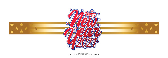 Happy New Year 2021 Gold usa flag banner stock illustration