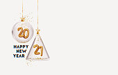 Happy New Year 2021. Golden metal number in glass bauble, Christmas decoration. Realistic 3d render metallic sign. Celebrate party 2021. Xmas Poster, banner, cover card, brochure, flyer, layout design