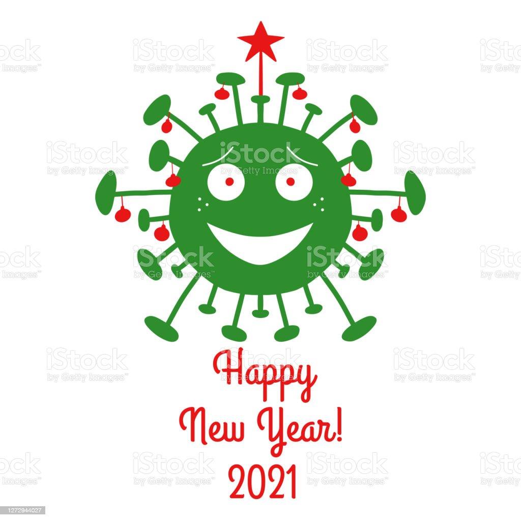 明けましておめでとうございます 21赤いクリスマスツリーのボールと上に星を持つ緑の漫画コロナウイルス細菌白い背景に隔離されていますベクトルストックのイラスト 21年のベクターアート素材や画像を多数ご用意 Istock