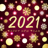 Happy New Year 2021 greeting card design. Gold texture glowing Christmas circle balls snowflakes stars on dark red background. Golden New Year celebration banner Holiday decoration vector illustration
