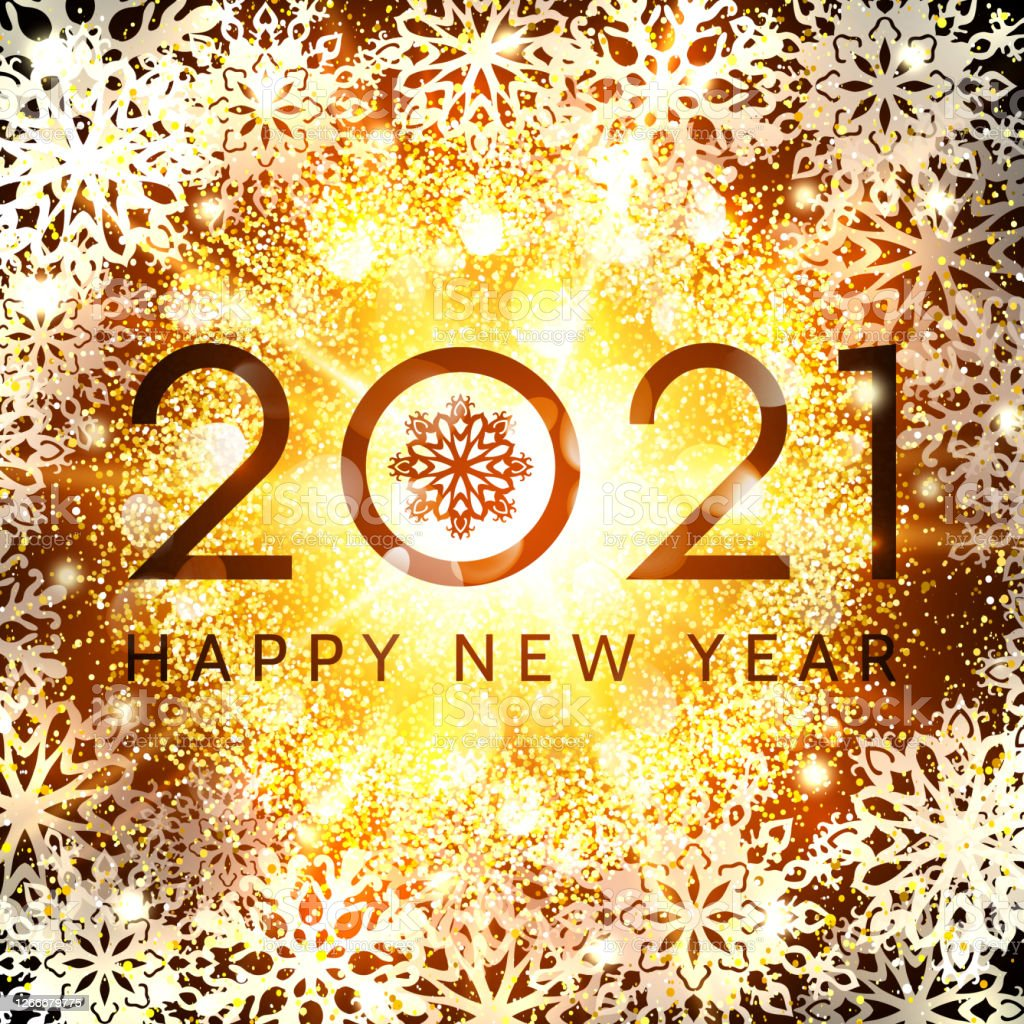 Happy New Year 2021 Greeting Card Design On Glowing ...