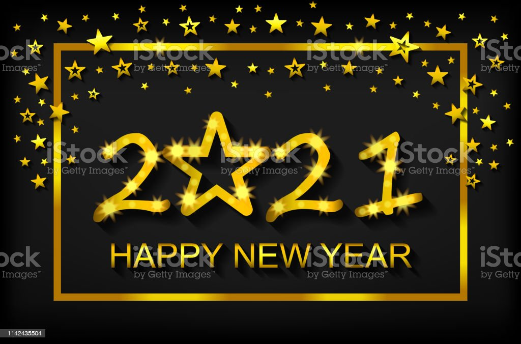 Happy New Year 2021 Greeting Card Flyer Invitation Vector ...