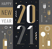 happy new year 2021 flat vintage design template. You can edit the colors or sizes easily if you have Adobe Illustrator or other vector software. All shapes are vector, eps. 10.