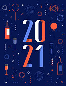istock happy new year 2021 greeting card with fireworks 1284907577