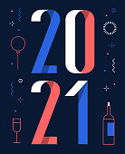 happy new year 2021 flat design template. You can edit the colors or sizes easily if you have Adobe Illustrator or other vector software. All shapes are vector, eps. 10.