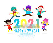 Happy New Year 2021 greeting card with group kids wearing winter hats and jumping, happy children with Happy new year, Colorful background Xmas holiday party Vector Illustration