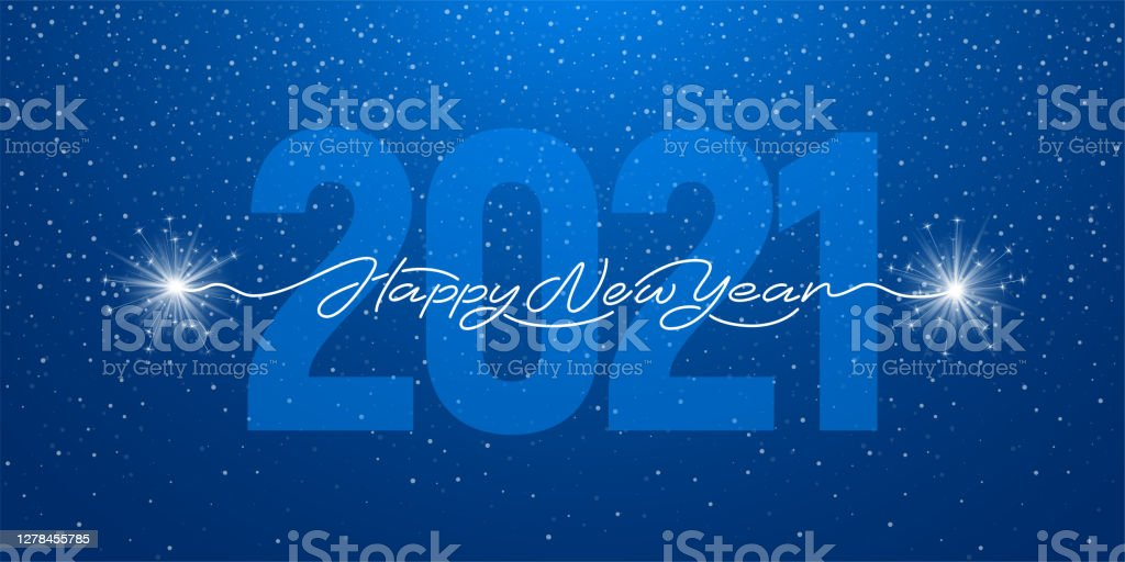Happy New Year 2021 Handwritten Lettering With Sparklers - Royalty-free 2021 arte vetorial