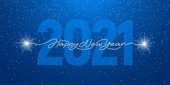 Happy New Year 2021 Handwritten Lettering With Sparklers