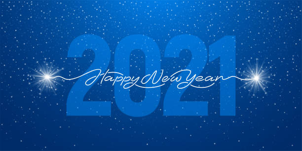 Happy New Year 2021 Handwritten Lettering With Sparklers Happy New Year 2021 handwritten lettering with realistic sparklers or bengal lights. Blue background with big digits 2021. Creative artistic design for new year greeting. Vector illustration. 2021 stock illustrations