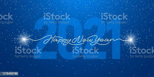 Happy New Year 2021 Handwritten Lettering With Sparklers - Arte vetorial de stock e mais imagens de 2021