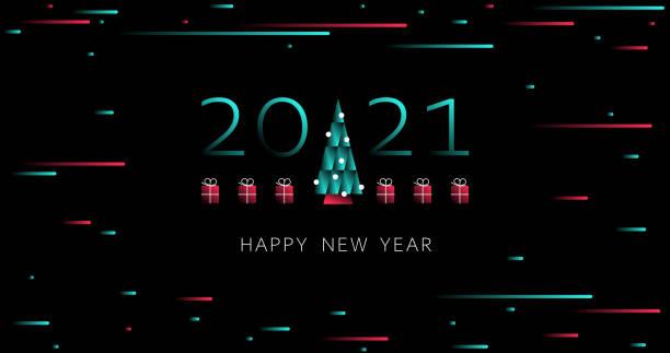 happy new year. 2021 holiday design. 2021 new year background with christmas tree. tiktok, tik tok. holiday tiktok background. light. futuristic blue red gradient vector black background - tiktok stock illustrations