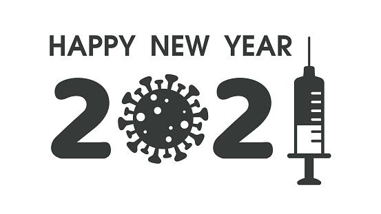 Gelukkig Nieuwjaar 2021 Icoon Ontworpen Uit De Corona Virus En Spuit De Corona Virus Vaccin Stockvectorkunst en meer beelden van Antibioticum - iStock