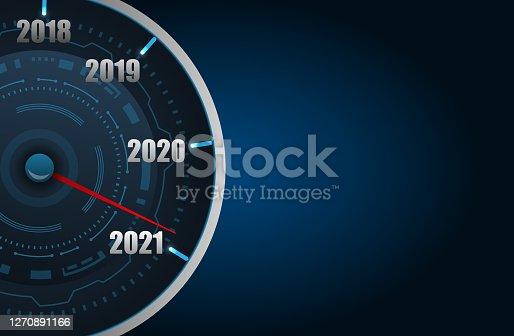 Happy New Year 2021 in the Form Car Speedometer, Creative Poster - Illustration Vector
