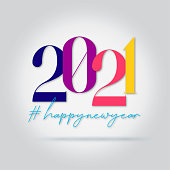 Happy new year 2021 logo text design. design template, card, banner, flyer, web, poster. Vibrant colorful glossy colors on white background.