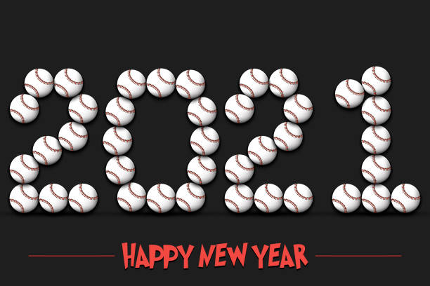Happy New Year illustrations, cliparts, cartoons and icons.  2021 Baseball Baseball - Happy New Year Baseball 2021