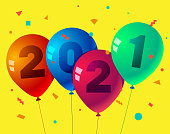 Happy New Year 2021 on balloon illustration for banner, flyer and greeting card