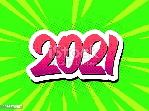 istock Happy New Year 2021 pop art comic style poster 1266679957