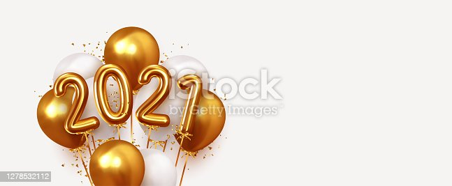 istock Happy New Year 2021. Realistic gold and white balloons. Background design metallic numbers date 2021 and helium ballon on ribbon, glitter bright confetti. Vector illustration 1278532112