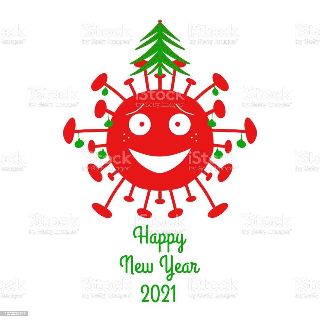明けましておめでとうございます 21赤い漫画のコロナウイルス細菌と緑のクリスマスボールとモミの木が上にあります白い背景に隔離されていますベクトルストックのイラスト 21年のベクターアート素材や画像を多数ご用意 Istock
