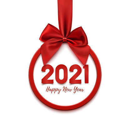 Happy New Year 2021 round abstract banner.