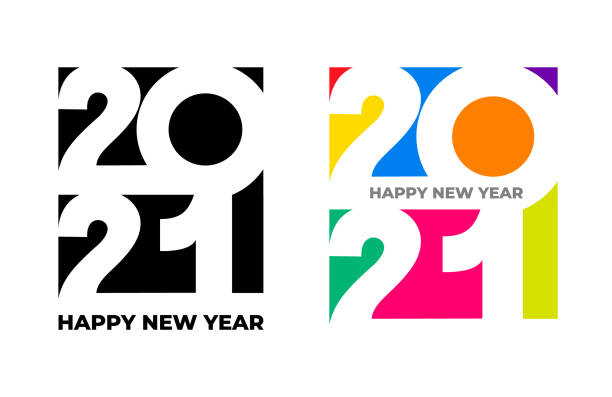 Happy New Year 2021 text design. Set of cover of business diary for 2021 with wishes colored, black and white. Brochure design template, card, banner. Vector illustration. Isolated on white background Happy New Year 2021 text design. Set of cover of business diary for 2021 with wishes colored, black and white. Brochure design template, card, banner. Vector illustration. Isolated on white background 2021 stock illustrations