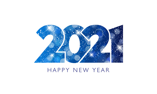 Happy New Year 2021 text design.