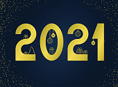 Happy new year 2021 text. Gold Figures with a Christmas tree, gifts, balls. Template for your holiday flyers, greeting and invitation cards, website headers, advertisements. Vector.