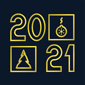 Happy new year 2021 text. Gold geometric numbers, line. Template for your holiday flyers, greeting and invitation cards, website headers, advertisements. Vector illustration