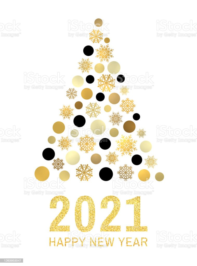 happy new year 2021 text gold glitter greeting card design abstract christmas tree with golden black circles snowflakes on white background holiday decoration for flyer poster sign banner vector stock illustration happy new year 2021 text gold glitter greeting card design abstract christmas tree with golden black circles snowflakes on white background holiday decoration for flyer poster sign banner vector stock illustration