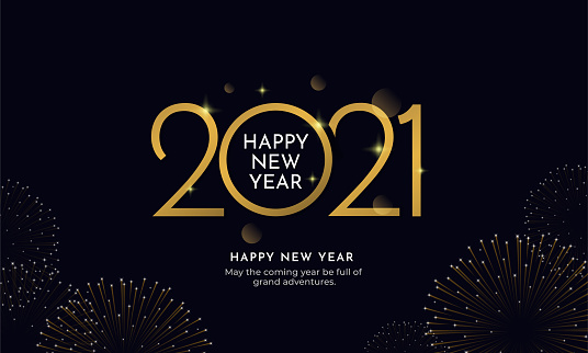 Happy new year 2021 typography text celebration social media poster vector design. Professional elegant golden customized number with fireworks explosion on dark sky background.