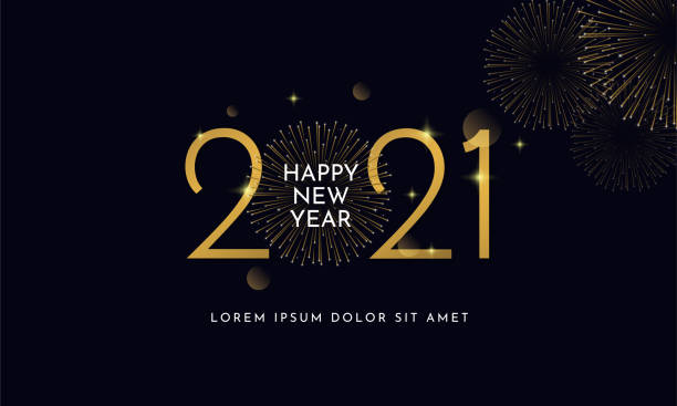 Happy new year 2021 typography text celebration social media poster vector design. Professional elegant golden customized number with fireworks explosion on dark sky background. Happy new year 2021 typography text celebration social media poster vector design. Professional elegant golden customized number with fireworks explosion on dark sky background. happy new year 2021 stock illustrations