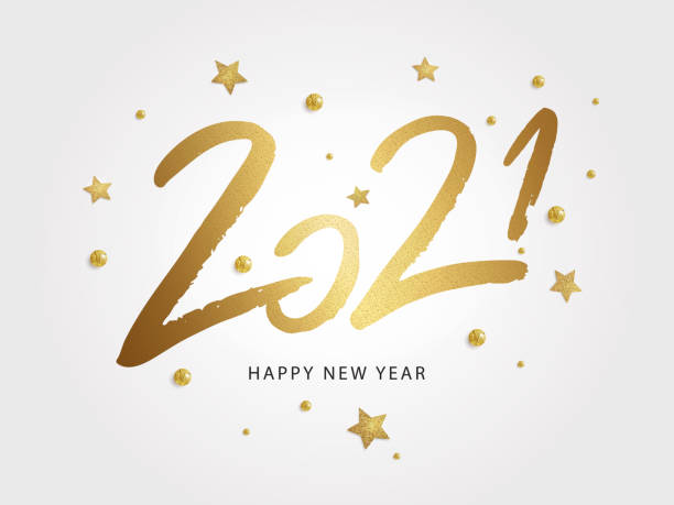 Happy New Year 2021 vector holiday illustration Happy New Year 2021. Vector holiday illustration with 2021  text design, sparkling confetti and shining golden stars on white background. happy new year 2021 stock illustrations
