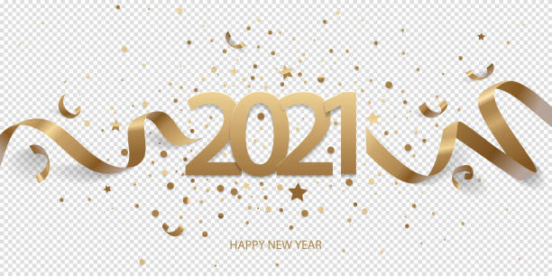 Happy New Year 2021 Happy New Year 2021. Golden numbers with ribbons and confetti on a transparent background. 2021 stock illustrations