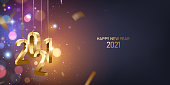 Happy New Year 2021. Hanging golden 3D numbers with golden confetti on a defocused colorful, bokeh background.