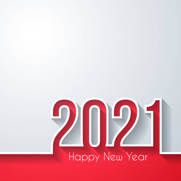 Happy new year 2021 - White background vector art illustration