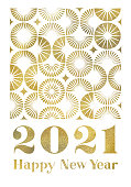 New Year greeting card with gold colored modern geometric semi circle pattern.  Editable vectors on layers.