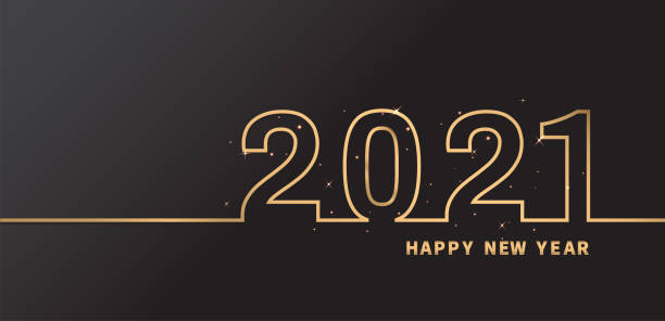 Happy New Year 2021 With Glitter on Black background. Vector illustration. Happy New Year 2021 With Glitter on Black background. Vector illustration. new years day stock illustrations