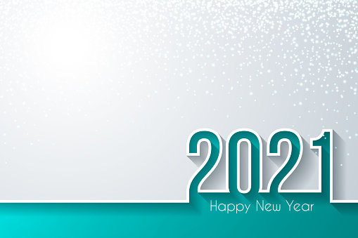 Happy new year 2021 with gold glitter - White background